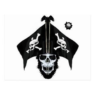 Pirate skull and cross bones postcard