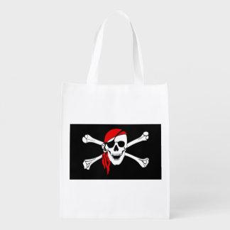 Pirate Skull and cross bones Reusable Grocery Bag