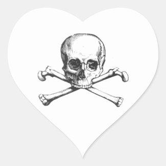 Pirate Skull and Crossbone Heart Sticker