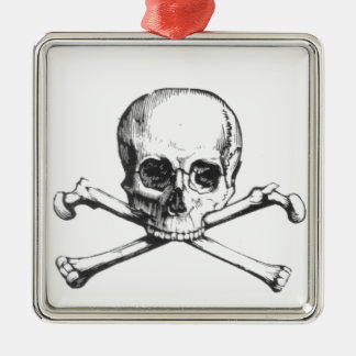 Pirate Skull and Crossbone Metal Ornament