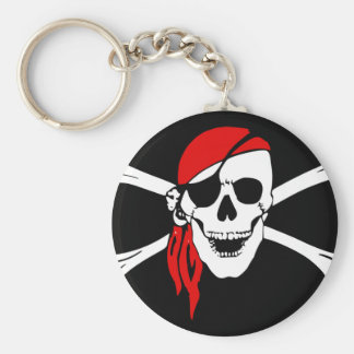 Pirate Skull and crossbones Flag Basic Round Button Keychain