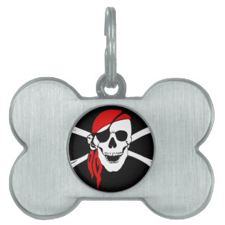 Pirate Skull and crossbones Flag Pet Tags