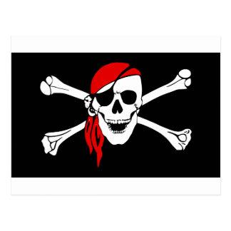 Pirate Skull and crossbones Flag Postcard