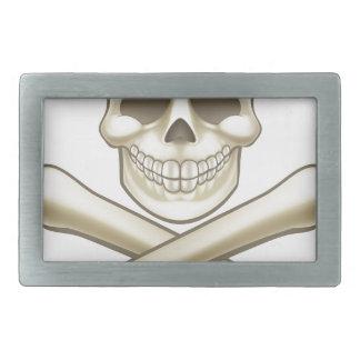 Pirate Skull and Crossbones Halloween Cartoon Rectangular Belt Buckle