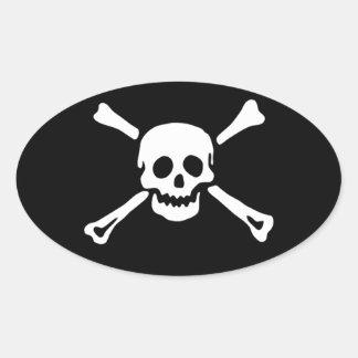 Pirate Skull and Crossbones Oval Sticker #3