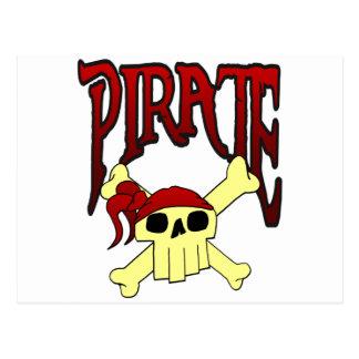 pirate skull and crossbones toon postcard