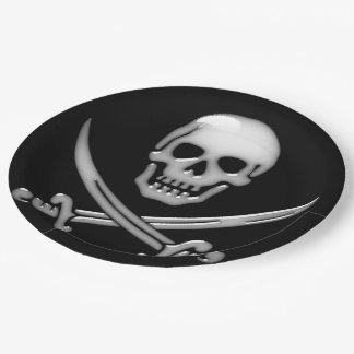 Pirate Skull and Sword Crossbones (TLAPD) 9 Inch Paper Plate