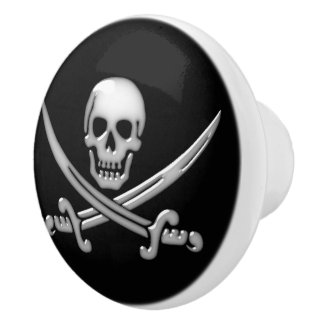 Pirate Skull and Sword Crossbones (TLAPD) Ceramic Knob