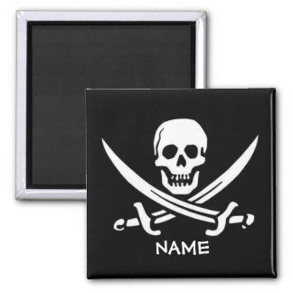 Pirate Skull and Swords add names Magnet