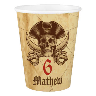 Pirate Skull Birthday Paper Cup