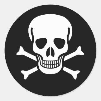 Pirate Skull & Bones (pack of 6/20) Round Sticker