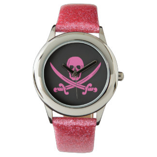 pirate skull crossbones pink watch