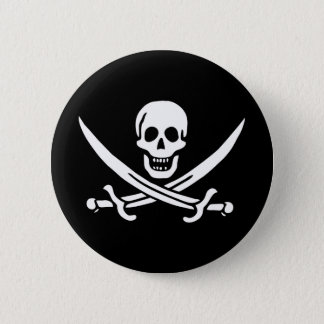 Pirate Skull Crossed Swords Jolly Roger Flag 2 Inch Round Button