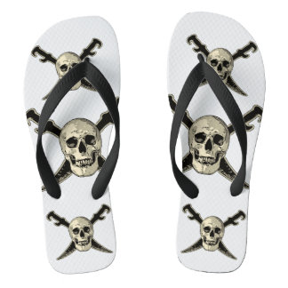 Pirate (Skull) - Custom Adult, Wide Straps Flip Flops