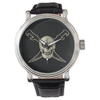 Pirate (Skull) - Custom Black Vintage Leather Watches