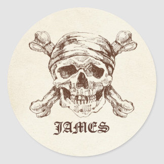 Pirate Skull n Cross Bones Custom Name Stickers