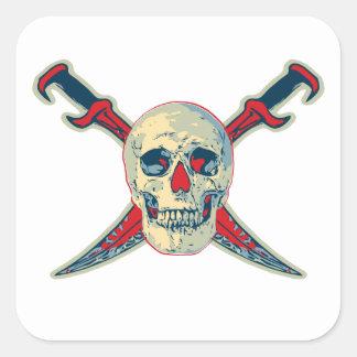 Pirate (Skull) - Square Stickers, Glossy Square Sticker