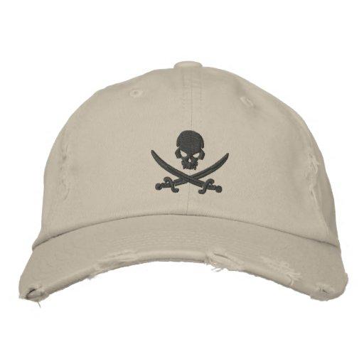 Pirate Skull Swords Embroidered Baseball Cap