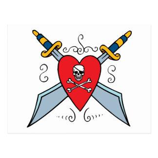 Pirate Skull Tattoo Post Cards