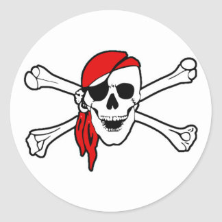 Pirate Skull with Red Scarf Classic Round Sticker