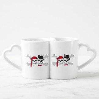 pirate skulls and crossbones coffee mug set