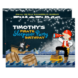 Pirate Sleep Over Birthday Party Invite