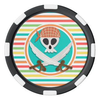 Pirate Swords; Bright Rainbow Stripes Poker Chips