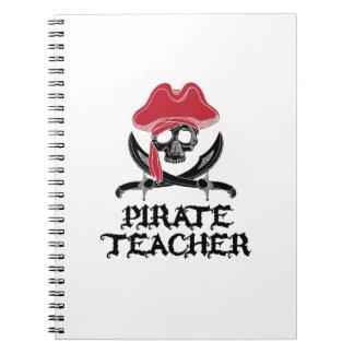 Pirate Teacher-Jolly Roger Skull Crossbones Spiral Notebook