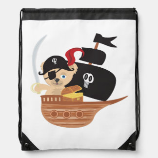 Pirate Teddy Bear  Drawstring Backpack