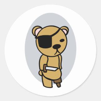 Pirate Teddy Bear Round Sticker