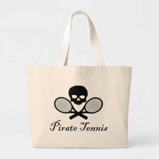 Pirate Tennis Skull & Racquet Large Tote Bag