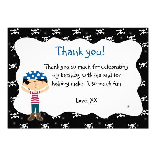 Pirate Thank You Card Birthday Baby Shower Custom Invite