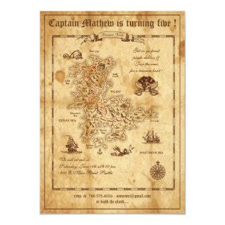 Pirate Treasure Map Birthday Invitation