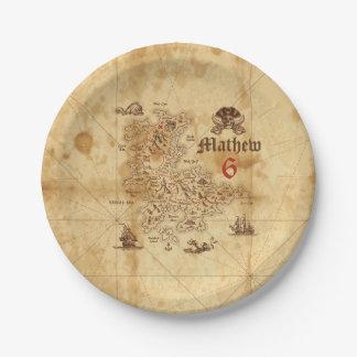 Pirate Treasure Map Birthday Paper Plate