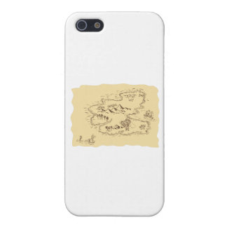 Pirate Treasure Map Sailing Ship Drawing iPhone 5/5S Cases