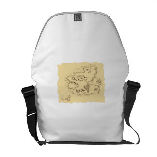Pirate Treasure Map Sailing Ship Drawing Messenger Bag