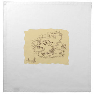 Pirate Treasure Map Sailing Ship Drawing Napkin