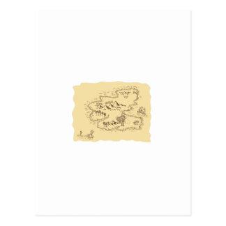 Pirate Treasure Map Sailing Ship Drawing Postcard