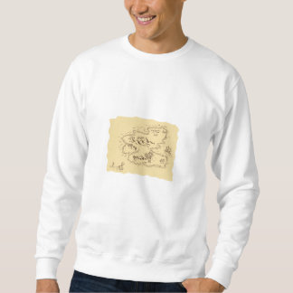 Pirate Treasure Map Sailing Ship Drawing Sweatshirt