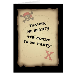 Pirate Treasure Map Thank You Note Card