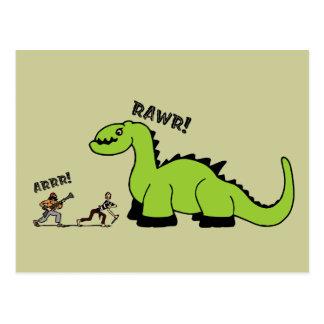 Pirate vs. Dinosaur Postcard
