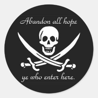 Pirate warning classic round sticker