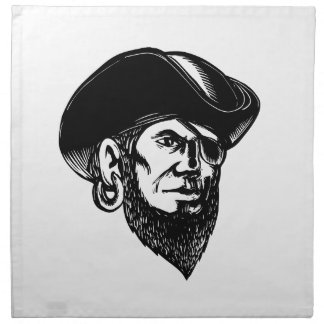 Pirate Wearing Eye Patch Scratchboard Napkin