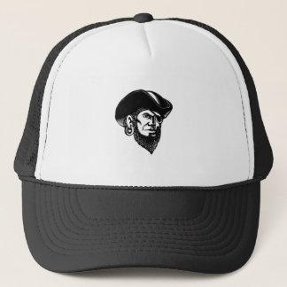 Pirate Wearing Eye Patch Scratchboard Trucker Hat