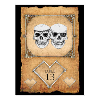 pirate wedding table numbers postcard