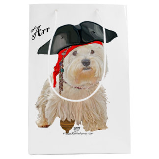 Pirate Westie Medium Gift Bag