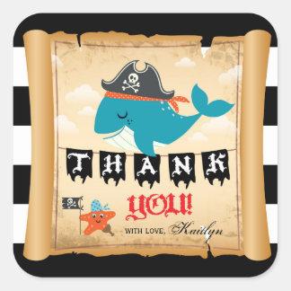 Pirate Whale Starfish Matey Thank You Label Square Sticker