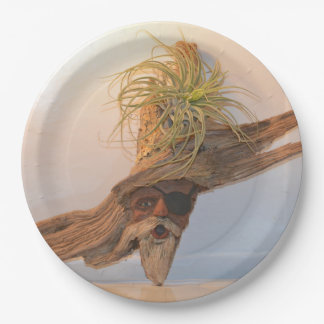 Pirate With Air Plant 9 Inch Paper Plate