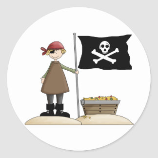 Pirate with his treasure classic round sticker