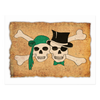 pirate woman and man postcard